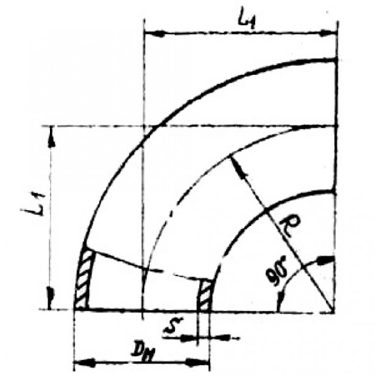 Отвод сталь крутоизогнутый 90гр бесшовный ГОСТ 17375-2001