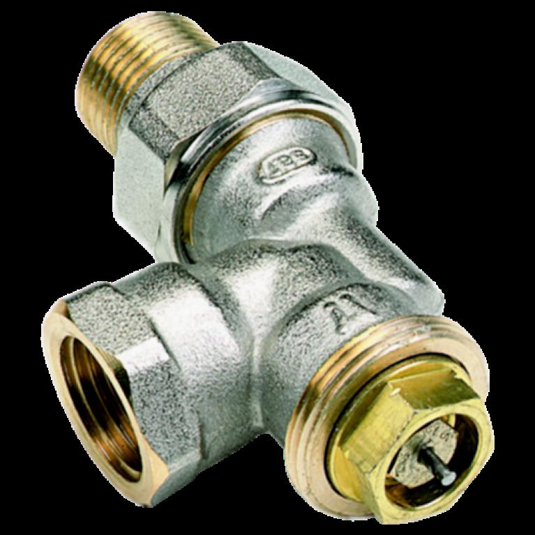 Клапан термостатический 908 для двухтр никель Ру10 угловой осевой ВР гайка М28х1,5 Comap