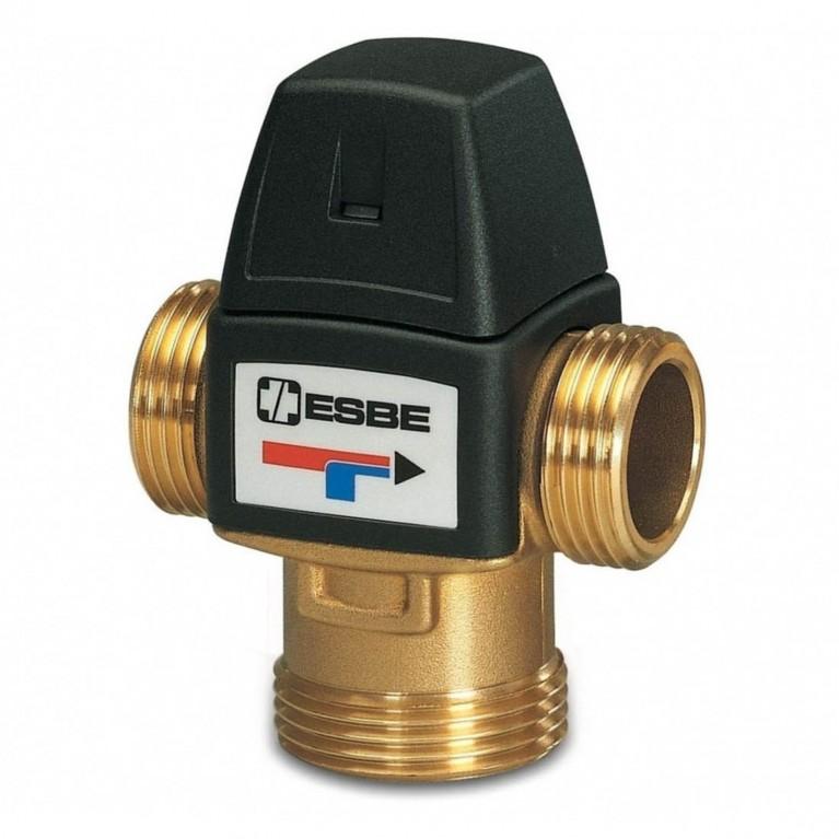 Клапан Ассиметричное направление потока. Защита от ожогов (данная функция означает автоматическое прекращение подачи горячей воды при прекращении подачи холодной воды) термостатический НР/НР Ру10 Esbe
