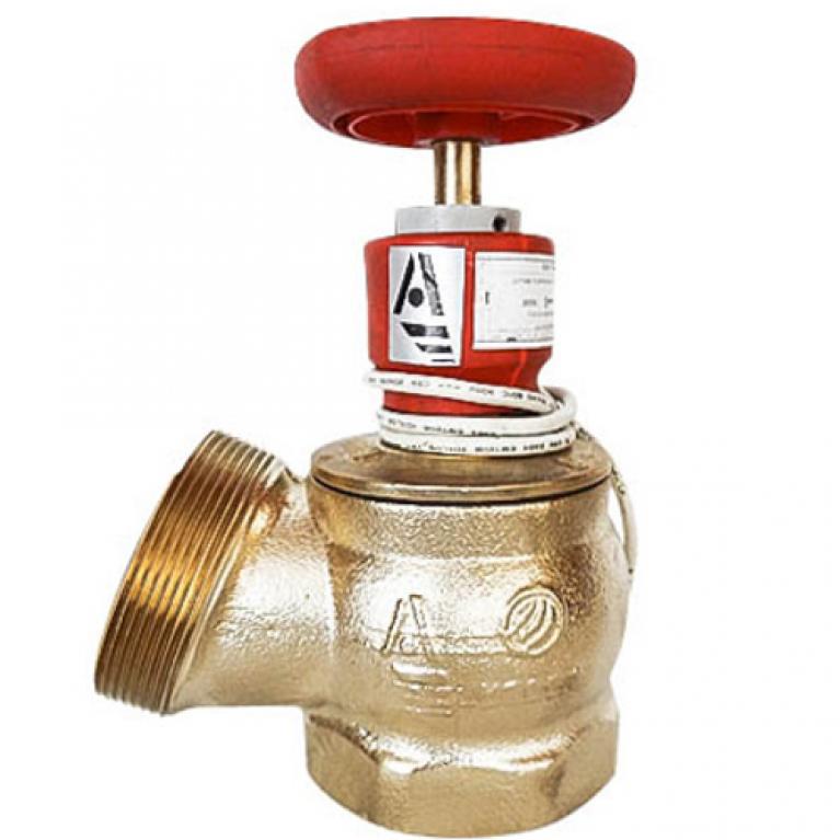 Клапан пожарный латунь КПЛ с датчиком положения угловой 125гр Апогей