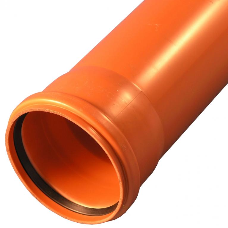 Труба НПВХ с раструбом коричневая SN4 Хемкор